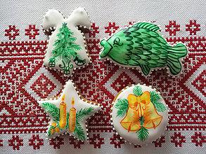 Dekorácie - Vianočné perníky maľované (Žltá) - 11255435_