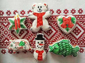 Dekorácie - Vianočné perníky maľované (Červená) - 11255436_