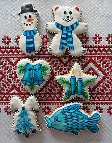 Dekorácie - Vianočné perníky maľované (Modrá) - 11255437_