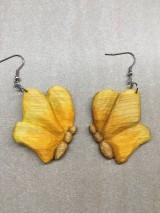 Náušnice - Drevené náušnice motýle (chir.oceľ) - 11258163_