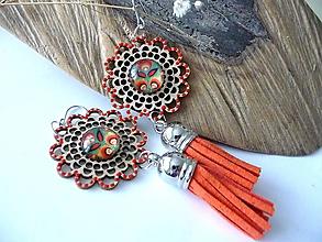 Náušnice - drevené folk náušnice-kvetinkové oranžové - 11255756_