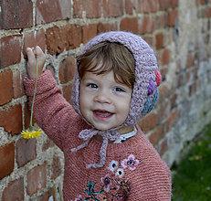 Detské čiapky - Rozkvitnutá čiapočka...šedoružová - 11254632_
