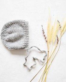 Detské čiapky - Pletený čepček - 100% merino - 11255137_