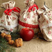 Úžitkový textil - Vianočné vrecká (Béžové perníčky) - 11254508_