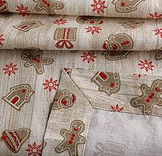 Úžitkový textil - Vianočný obrus - rôzne tvary a veľkosti (Béžové perníčky) - 11254509_