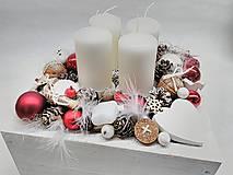 Dekorácie - Vintage adventná dekorácia červená - 11256855_