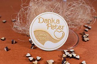 Darčeky pre svadobčanov - Drevená svadobná magnetka Ľudový motív 18 - 11255042_