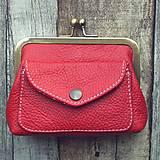 Peňaženky - Rámečková kožená peněženka - červená - 11258275_