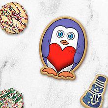 Dekorácie - Tučniačik - ozdoba na koláčik  (srdiečko) - 11256013_