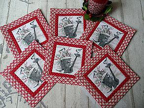 Úžitkový textil - Zimné vtáčiky... podložky 6 ks - 11259660_