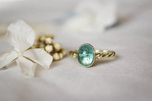 Zlatý filigránový prsteň - Splynutie (Apatit)