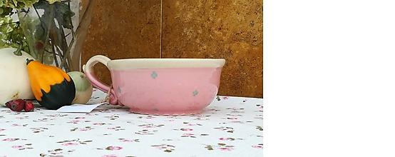 Nádoby - Ružová keramická šálka na polievku,čaj - 11258985_