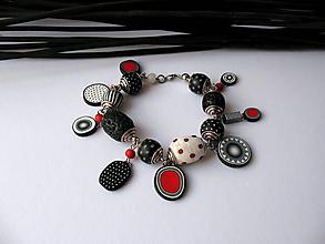 Náramky - ,,Bielo-čierno-červený ,, - 11261448_