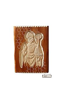 Obrazy - Drevorezba - sv. Ambróz patrón včelárov - stojaci - 11260554_