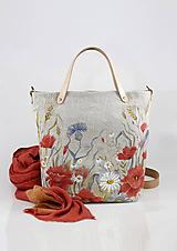 """Kabelky - Veľká ručne maľovaná kabelka z ľanového plátna """"Na lúke"""" - 11262343_"""