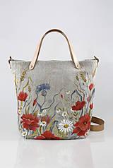 """Kabelky - Veľká ručne maľovaná kabelka z ľanového plátna """"Na lúke"""" - 11262344_"""
