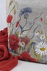 """Kabelky - Veľká ručne maľovaná kabelka z ľanového plátna """"Na lúke"""" - 11262346_"""