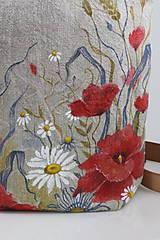"""Kabelky - Veľká ručne maľovaná kabelka z ľanového plátna """"Na lúke"""" - 11262352_"""