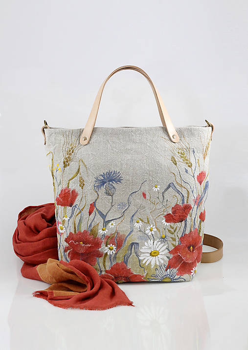 Veľká ručne maľovaná kabelka z ľanového plátna