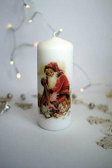 Svietidlá a sviečky - Vintage sviečka Dedo mráz - 11261391_