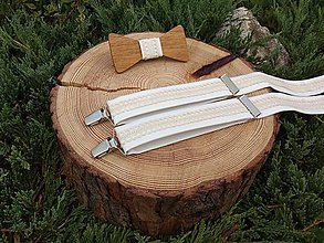 Doplnky - Pánsky drevený motýlik a traky - 11259403_
