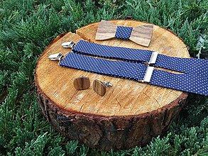 Doplnky - Pánsky drevený motýlik a traky - 11261300_