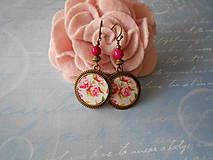 Náušnice - Ružové kvietky - 11261553_