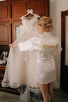 Pyžamy a župany - Luxusný svadobný župan Afrodita biely - 11261160_