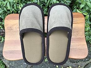 Obuv - Hnedé menčestrové papuče - 11258829_
