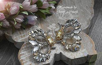 Náušnice - Crystal Butterfly - 11258743_