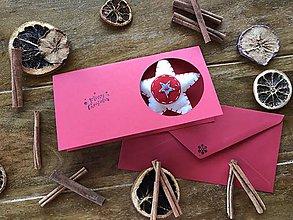 Drobnosti - Vianočná pohľadnica s prekvapením - červená - 11262442_