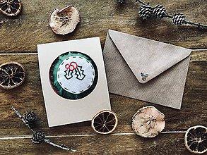 Drobnosti - Vianočná pohľadnica s prekvapením- prírodný papier - 11262463_