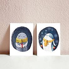 Papiernictvo - Set vianočných pohľadníc- vianočný tuleň a veľryba - 11259966_
