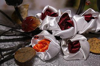Dekorácie - Saténové kvety - spomienka na leto - 11261976_