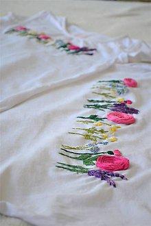 """Tričká - Tričká """"Mama a ja"""" s ručnou výšivkou kvetín - 11259191_"""