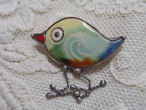 Odznaky/Brošne - keramika ..brošňa vtáčik... - 11260808_