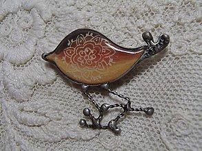 Odznaky/Brošne - keramika ..brošňa vtáčik... - 11260848_