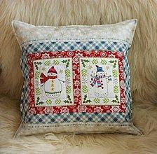 Úžitkový textil - vankúšik so snehuliakmi - 11259953_