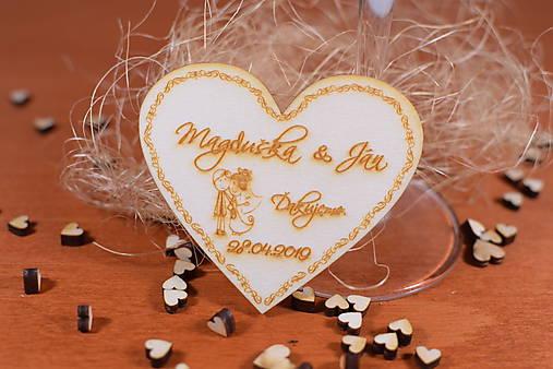 Drevená svadobná magnetka Ľudový motív 22