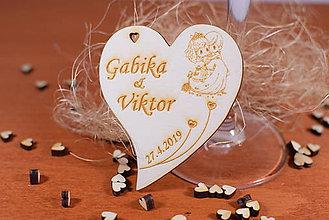 Darčeky pre svadobčanov - Drevená svadobná magnetka Ľudový motív 20 - 11259066_