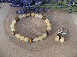 Sady šperkov - náramok a náušnice z Kalciu a Tigrieho oka - 11259195_