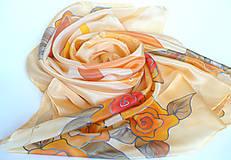 Šatky - Růže z Texasu. Krepdešínový šátek. - 11265342_