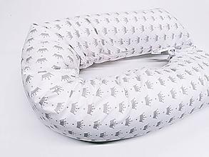 Textil - Tehotenský vankúš / Vankúš na dojčenie sivé korunky na bielom - 11267140_