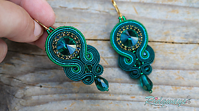 Náušnice - Simple teardrop...soutache (Just emerald) - 11264907_