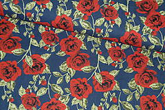 Textil - Látka denim Ruže - 11263491_