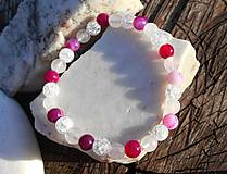 Náramky - pink agata and cristall-achát,krištáľ,ruženín - 11266252_