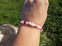 Náramky - pink agata and cristall-achát,krištáľ,ruženín - 11266255_