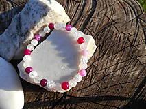 Náramky - pink agata and cristall-achát,krištáľ,ruženín - 11266256_