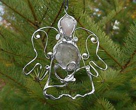 Dekorácie - ,,vianočný anjel strážny,,RUžENíN,KRIšTáľ - 11265782_