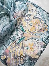 Šály - Hodvábny šál - motýle v búrke  - 11263503_